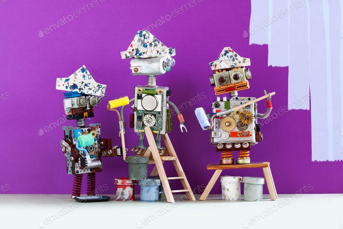 Professional painter decorators team at work. Funny robots with paint rollers and buckets