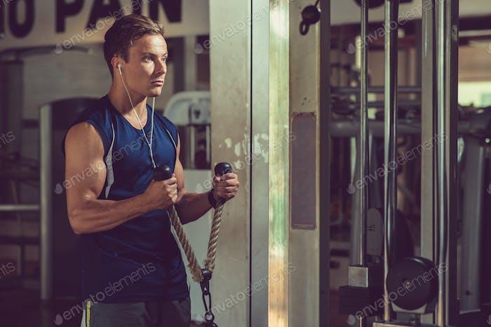 Muscular Man Building Muscles