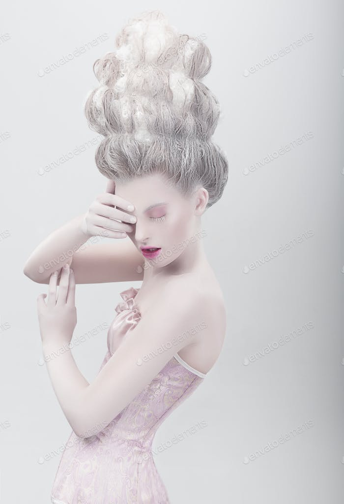 Studio shot of extravagant fashion model