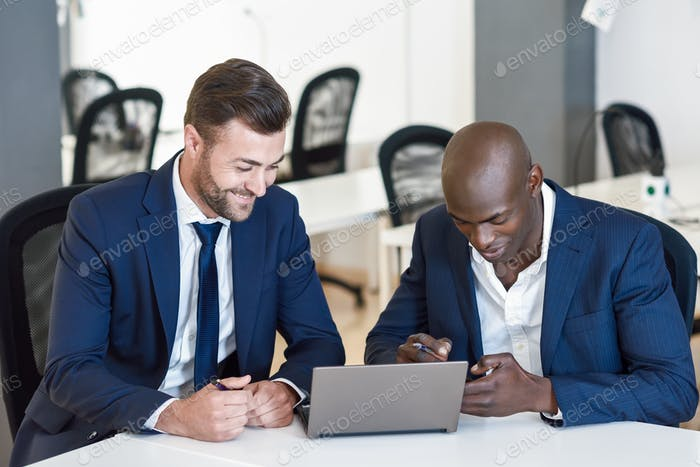 Black and caucasian businessmen looking at a laptop computer