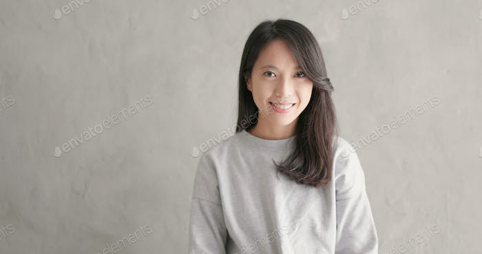 Woman smile to camera