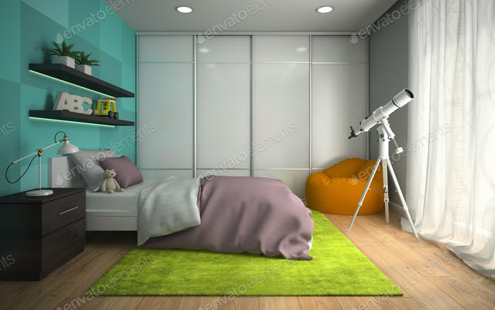 Interior of modern childroom  with blue wall 3D rendering 2