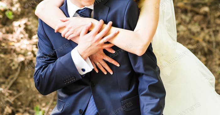 Wedding, Beautiful Romantic Bride and Groom Embracing