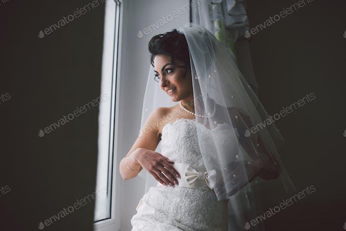 Preparation of adorable bride.