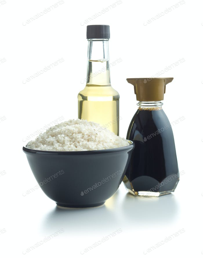 Sushi rice, soy sauce and vinegar.