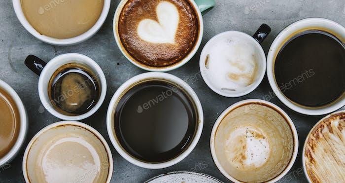 Luftaufnahme von verschiedenen Kaffee