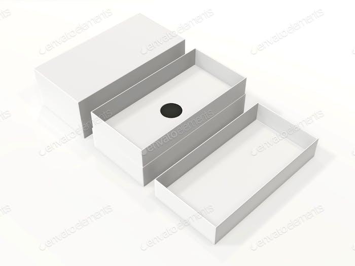 Leere Box Paket für Handy oder andere Dinge, isoliert auf weißem Hintergrund. Mock-up-Vorlage.