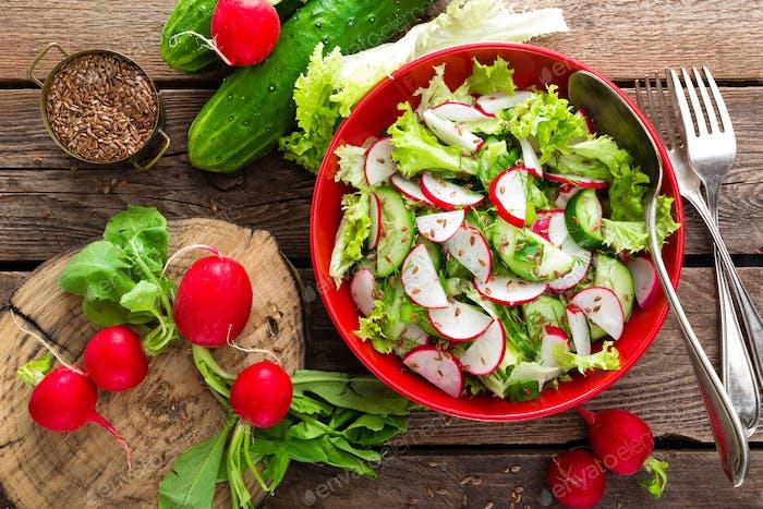 Vegetarian vegetable salad of radish