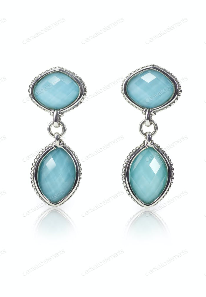 Blue Gemstone Cushion Cut Dangle Earrings