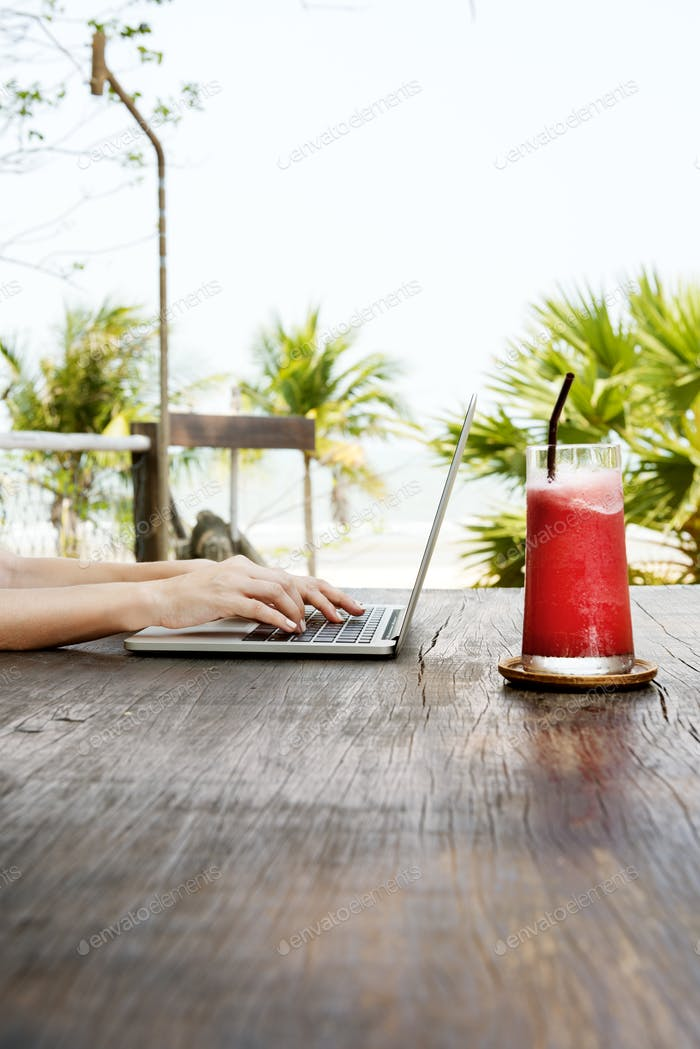 Beach Summer Holiday Vacation Traveling Laptop Technology Concep