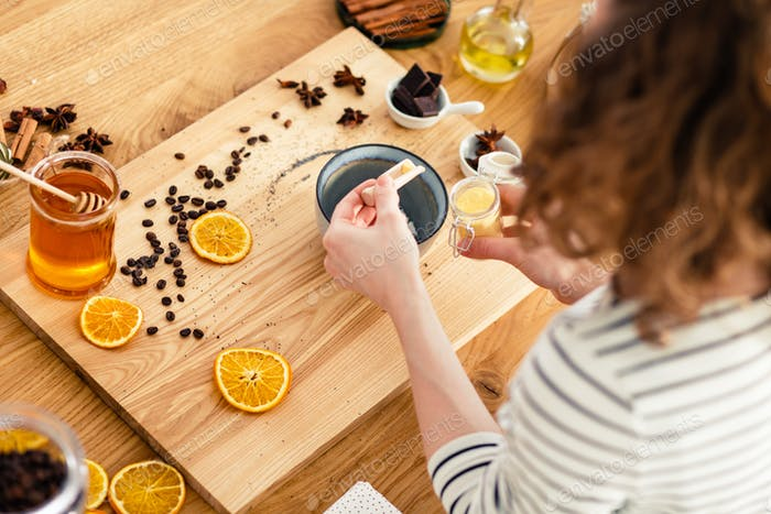 Woman producing natural bio products