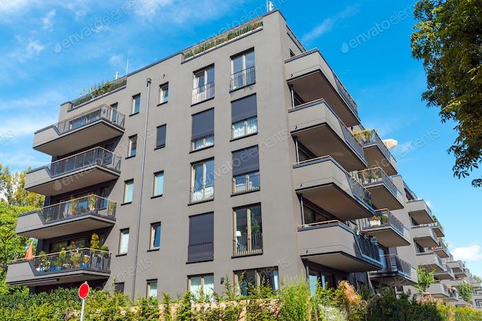 Modern grey apartment buildings seen in Berlin