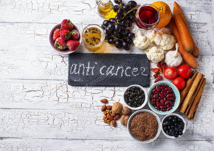 Krebsbekämpfungsprodukte. Lebensmittel für gesunde