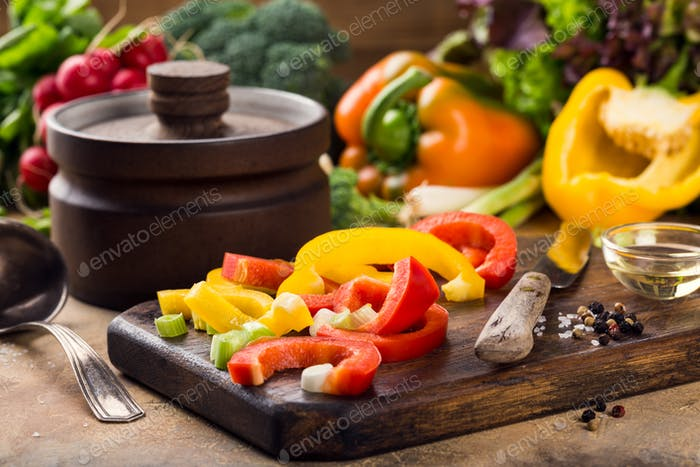 Fresh raw vegetables for soup