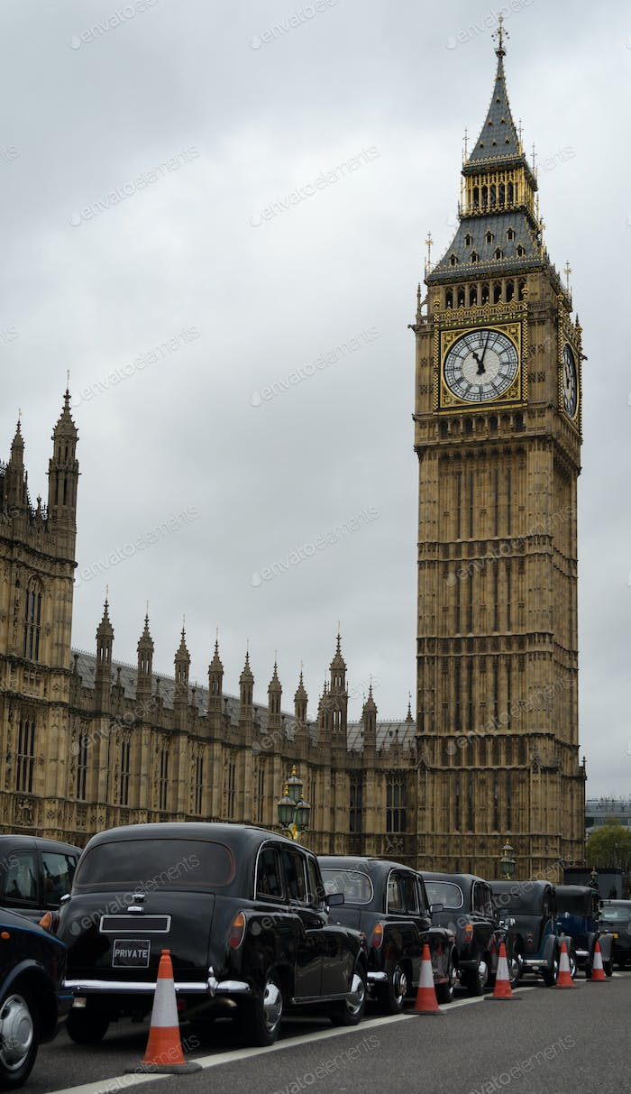 Big Ben and London taxi cabs