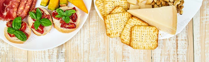 Banner of Italian antipasti wine snacks set. Antipasto catering platter