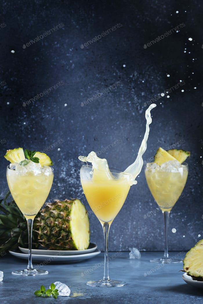 Splash of a pineapple cocktail