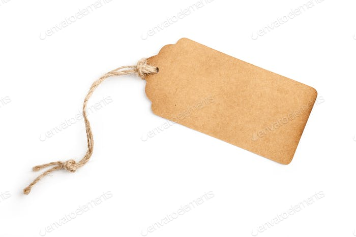 Paper tag on white