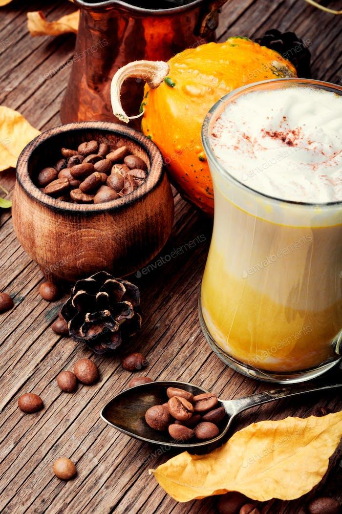 Latte autumn hot drink