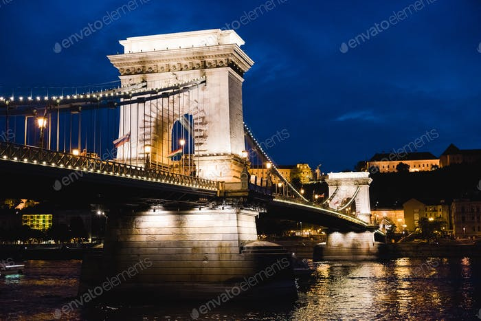Night view of Liberty Bridge over Danube river in Budapest