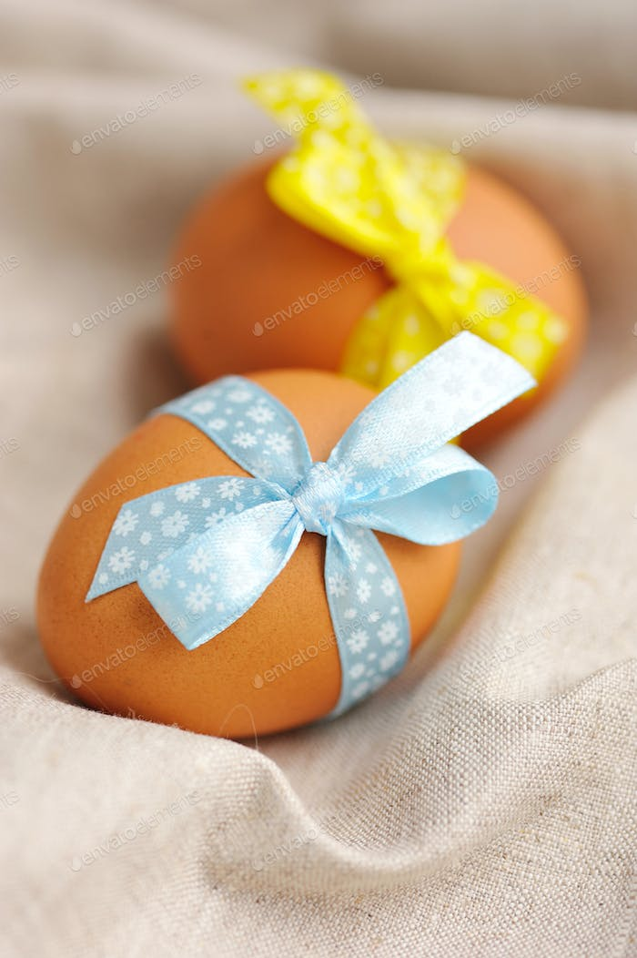 Easter eggs in the nest on a linen fabric