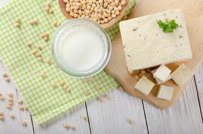 Flat lay at Non-dairy alternatives Soy milk or yogurt in mason j