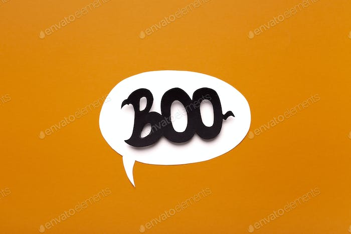 Creative Boo text inside speech bubble on Halloween background