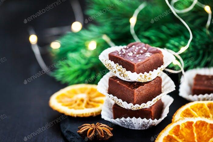 Homemade delicious chocolate fudge pieces with sea salt