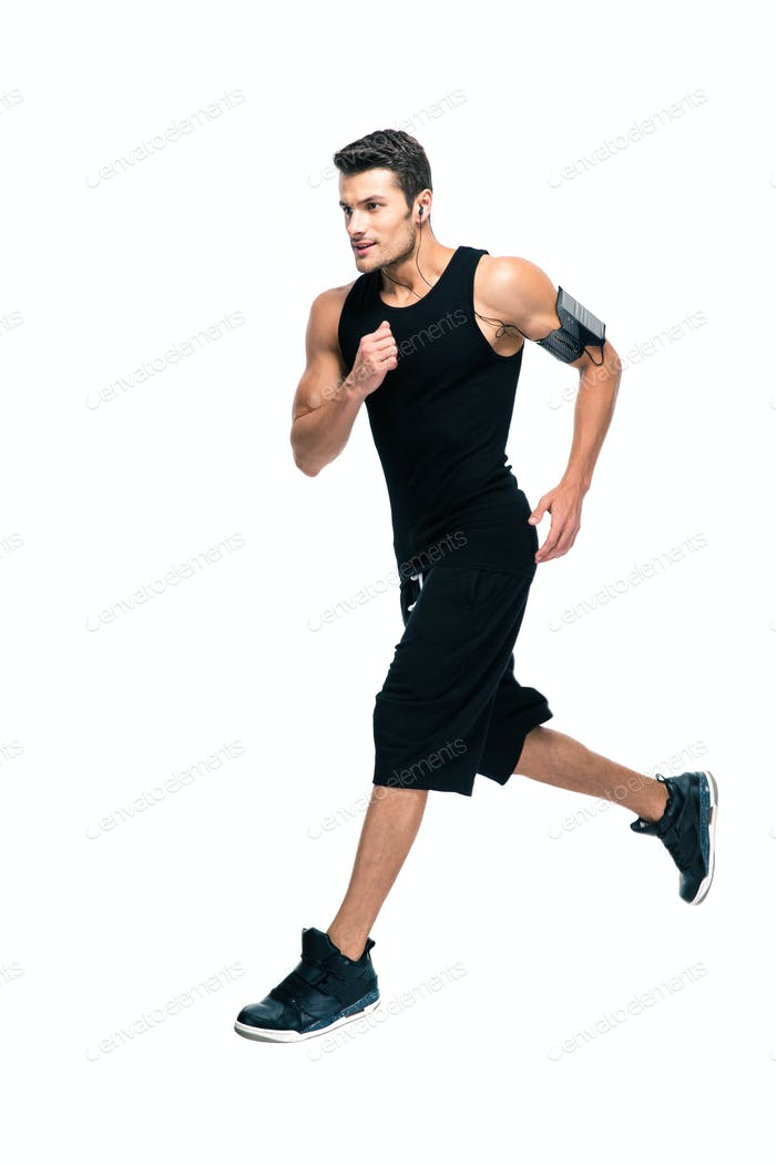 Handsome sports man running isolated