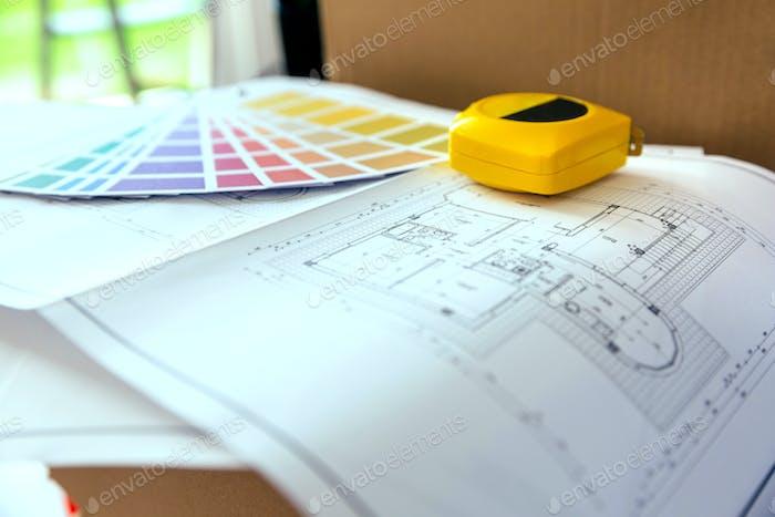 Plan, Farbpalette und Meter
