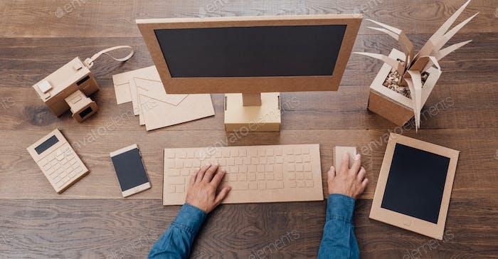 Creative eco-friendly cardboard office
