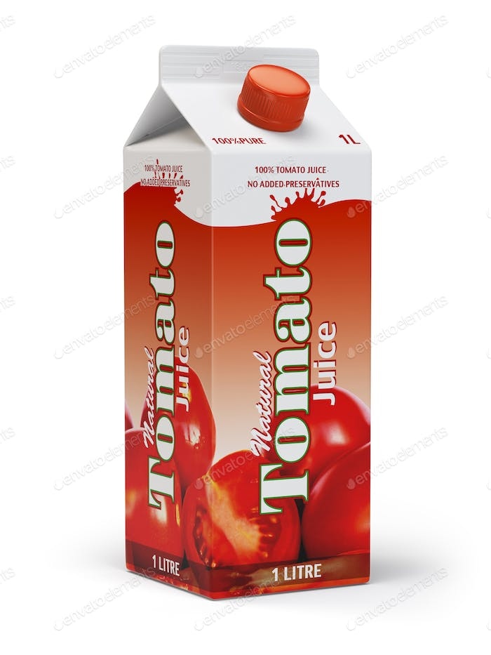 Tomato juice carton cardboard box pack isolated on white backgro