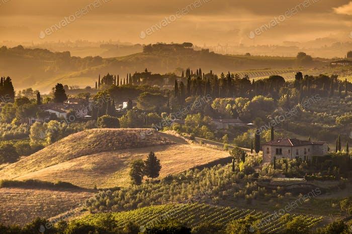 Tuscany Village morning landscape Scene near Volterra
