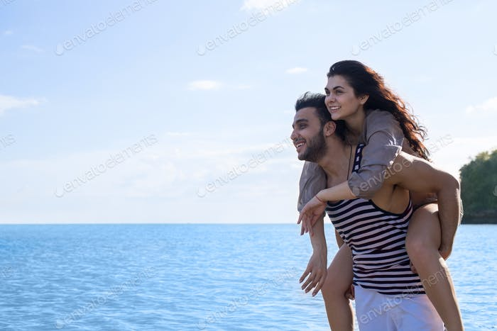 Couple Beach Summer Vacation, Man Carry Woman Beautiful Young Happy Man And Woman Smile