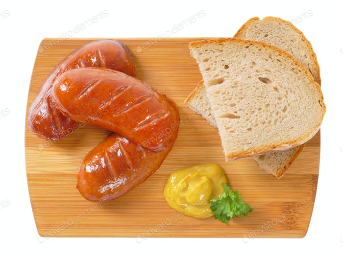 short thick sausages with bread