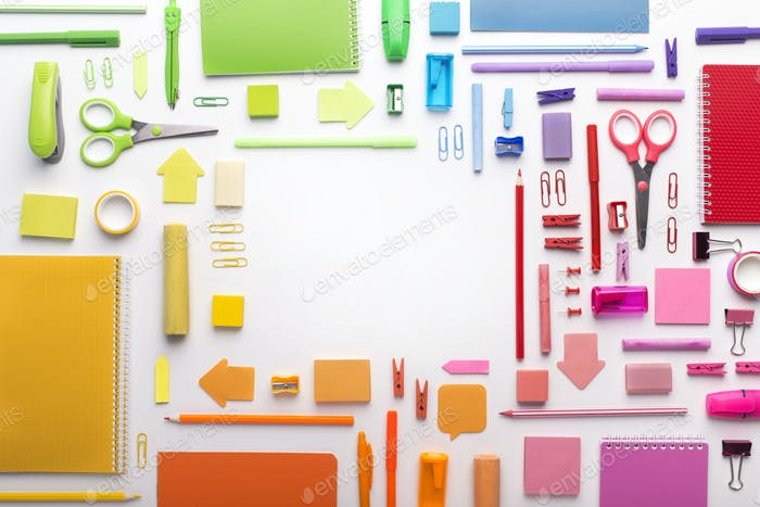 Office supplies posted by colors on white background