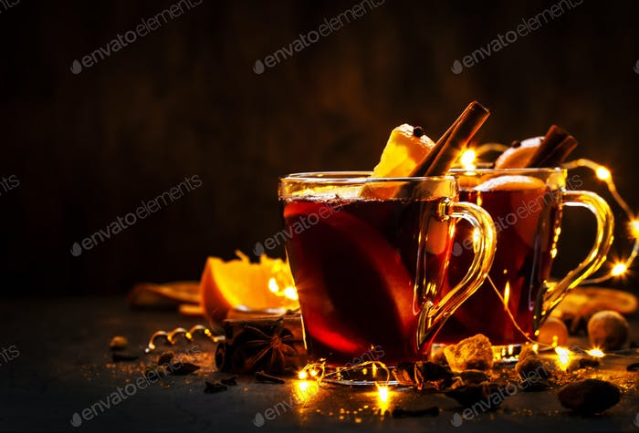Christmas mulled red wine with spices and fruits
