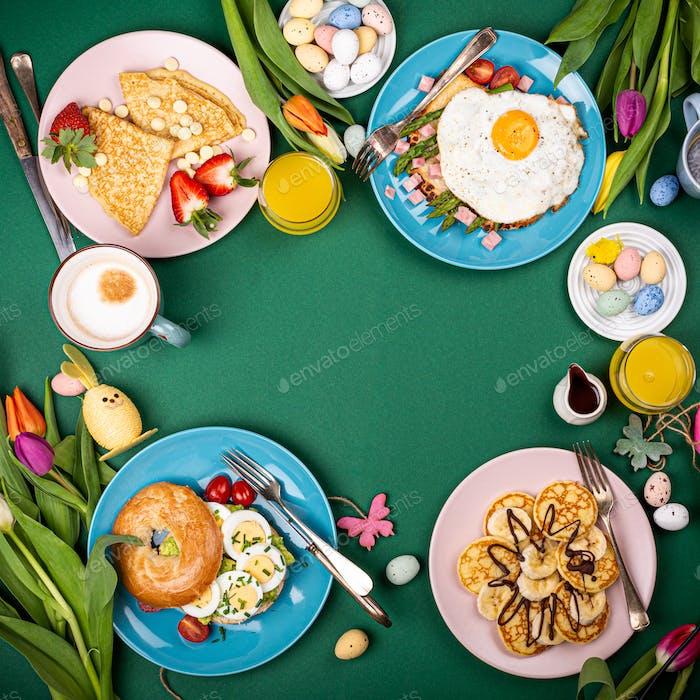 Osterfrühstück flach lag