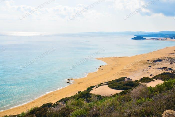 Top View Of Turtle Beach Karpaz North Cyprus