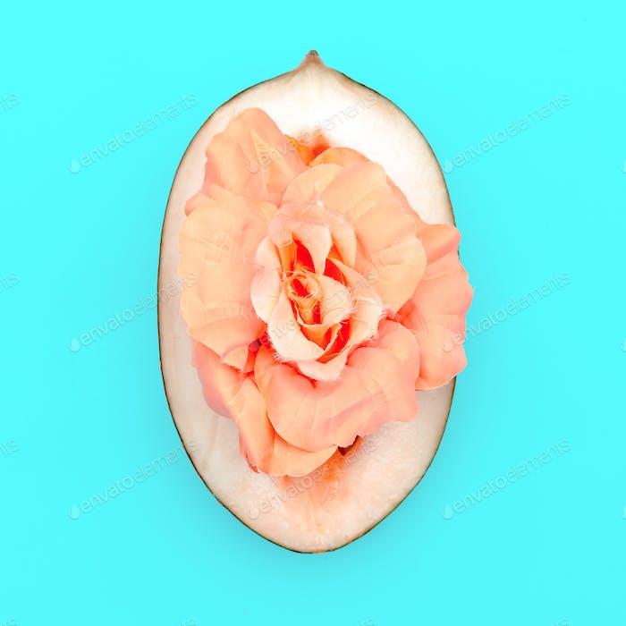Melone und Rose. Design mit minimalem Kunststil