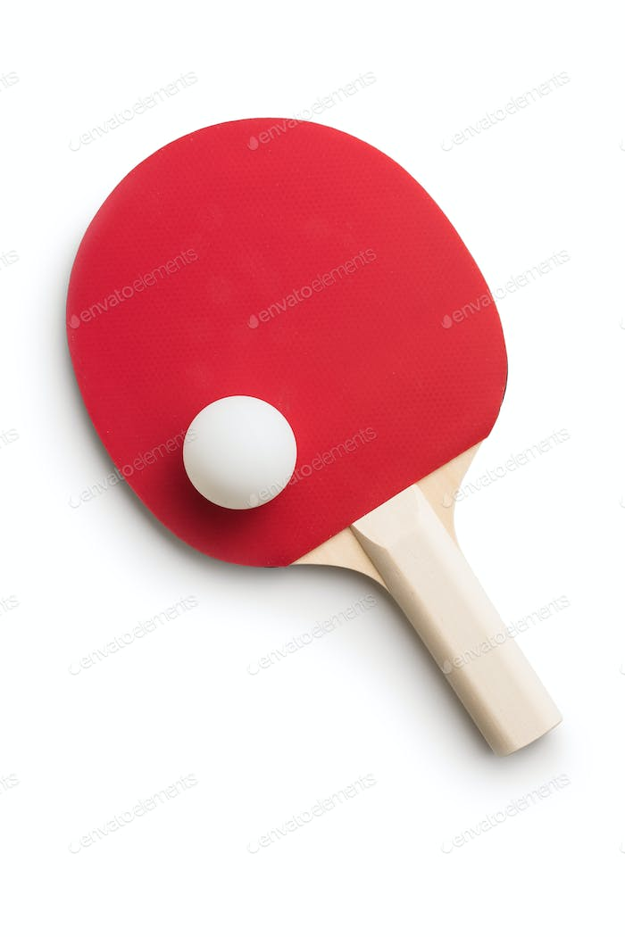 Ping pong racket and ball. Table tennis equipment.