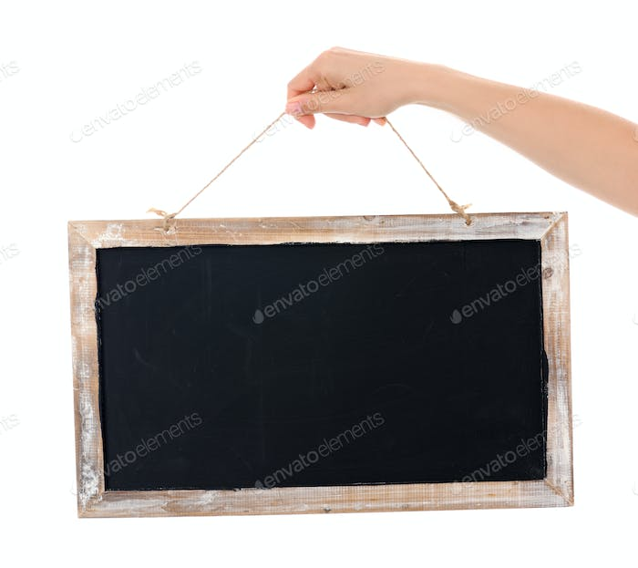 Hands with blackboard