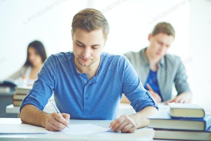 Student at examination