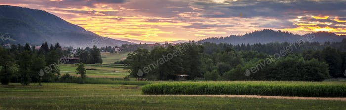 Countryside with sunset