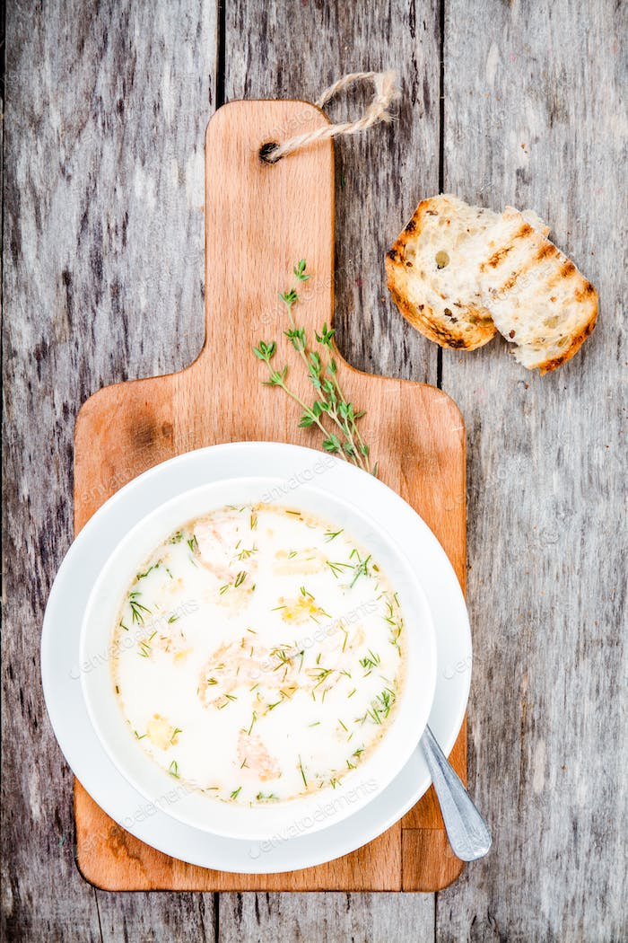 homemade soup with salmon and cream