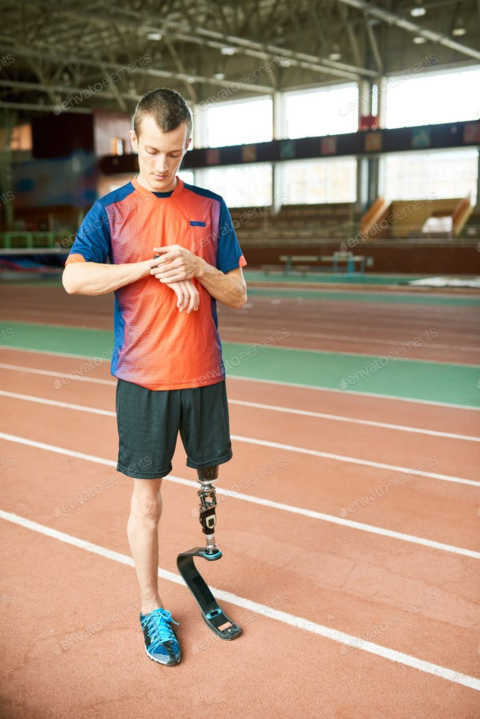 Handicapped Man Checking Wristwatch
