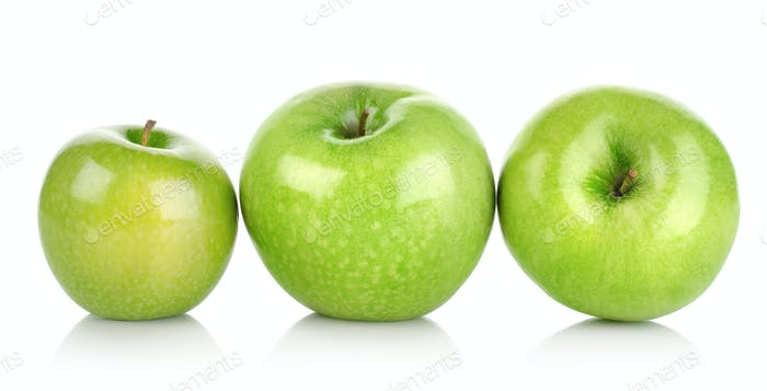 Three green apples isolated