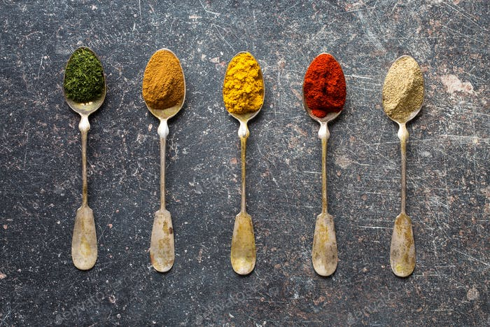 Various spices in spoons.