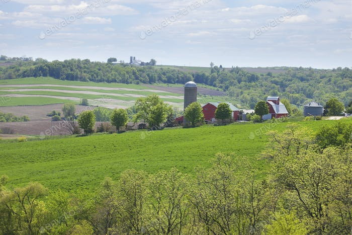 Farms on Hillside in Midwest USA