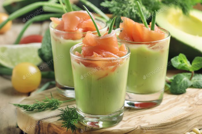 Appetizer with salted salmon and avocado